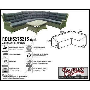 Raffles Covers Cover for L-Shaped dining sofa, 275 x 215 x 95, H: 100 / 65 cm