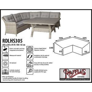 Raffles Covers Cover for L-Shaped dining sofa, 305 x 305 x 95, H: 100 / 65 cm