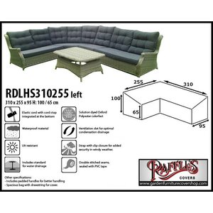 Raffles Covers L-shaped dining set cover, 310 x 255 x 95, H: 100 / 65 cm
