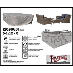 Raffles Covers Cover for a square garden furniture set, 200 x 200 H: 95 cm