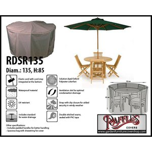 Raffles Covers Outdoor dining set cover round, Ø: 135cm & H: 85 cm, taupe