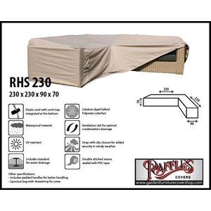 Raffles Covers Rattan corner sofa cover , 230 x 230 x 90, H: 70 cm
