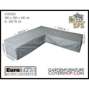 EuroTrail Cover for a corner sofa with a high backrest, 300 x 300 H: 105 / 70 cm