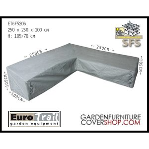 EuroTrail Protection cover for L-shaped dining sofa, 250 x 250 H: 105 / 70 cm