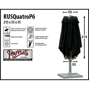 Raffles Covers Cover for P6 horeca parasol with 4 canvasses, H: 215 cm
