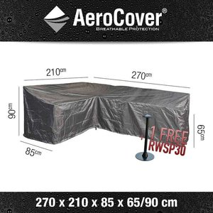 AeroCover Cover for L-shaped lounge sofa with high backrest 270 x 210 H: 90 - 65 cm