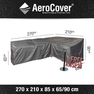 AeroCover Cover for L-shaped dining sofa,  270 x 210 H: 90 - 65 cm