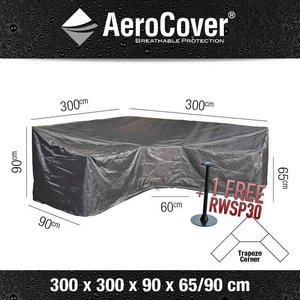 AeroCover L-shaped dining lounge furniture cover, 300 x 300 H: 90 - 65 cm
