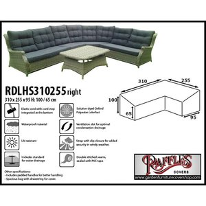 Raffles Covers Cover for dining corner sofa, 310 x 255 x 95, H: 100 / 65 cm