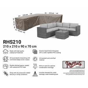 Raffles Covers Corner sofa cover small, 210 x 210 x 90, H: 70 cm