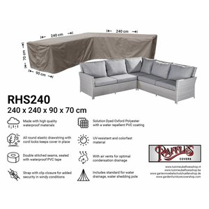 Raffles Covers Cover for L-shaped corner sofa, 240 x 240 x 90, H: 70 cm