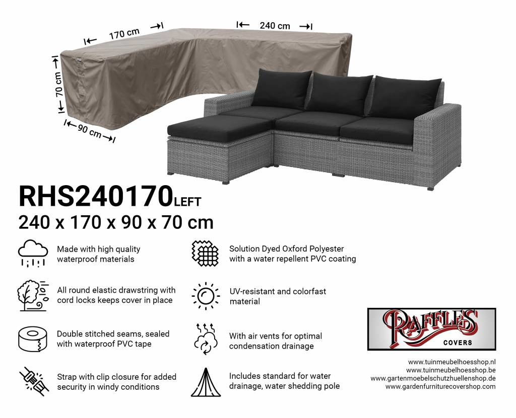 Asymmetric corner sofa cover 240 x 170 cm