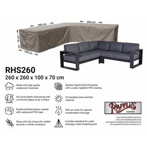 Raffles Covers Cover for rattan corner sofa, 260 x 260 x 100, H: 70 cm