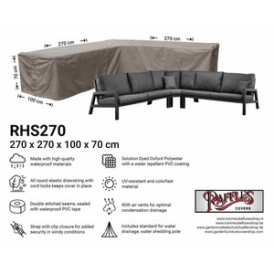 Raffles Covers Rattan corner sofa cover, 270 x 270 x 100, H: 70 cm