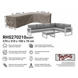 Raffles Covers Outdoor L-shaped cover, 270 x 210 x 100, H: 70 cm