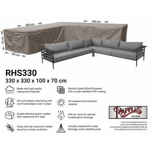 Raffles Covers Protection cover for corner sofa, 330 x 330 x 100, H: 70 cm