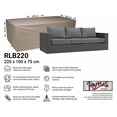 Raffles Covers Lounge bench cover 220 x 100 H: 75 cm
