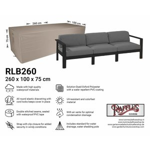 Raffles Covers Outdoor cover for lounge sofa, 260 x 100 H: 75 cm