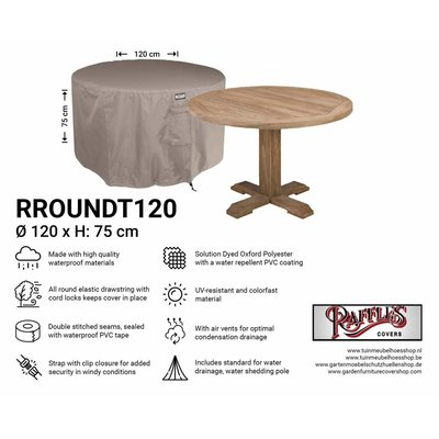 Raffles Covers Round garden cover for furniture set Ø 120 cm & H: 75 cm