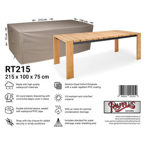 Raffles Covers Rectangular garden table cover, 215 x 100 H: 75 cm