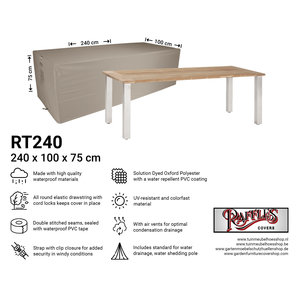 Raffles Covers Outdoor table cover, 240 x 100 H: 75 cm