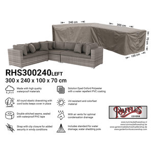 Raffles Covers Cover for L-shaped corner sofa, 300 x 240 x 100, H: 70 cm