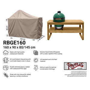 Raffles Covers Big green egg BBQ cover, 160 x 90 H: 80 / 140 cm