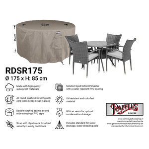 Raffles Covers Cover for a round outdoor dining set, Ø: 175cm & H: 85 cm