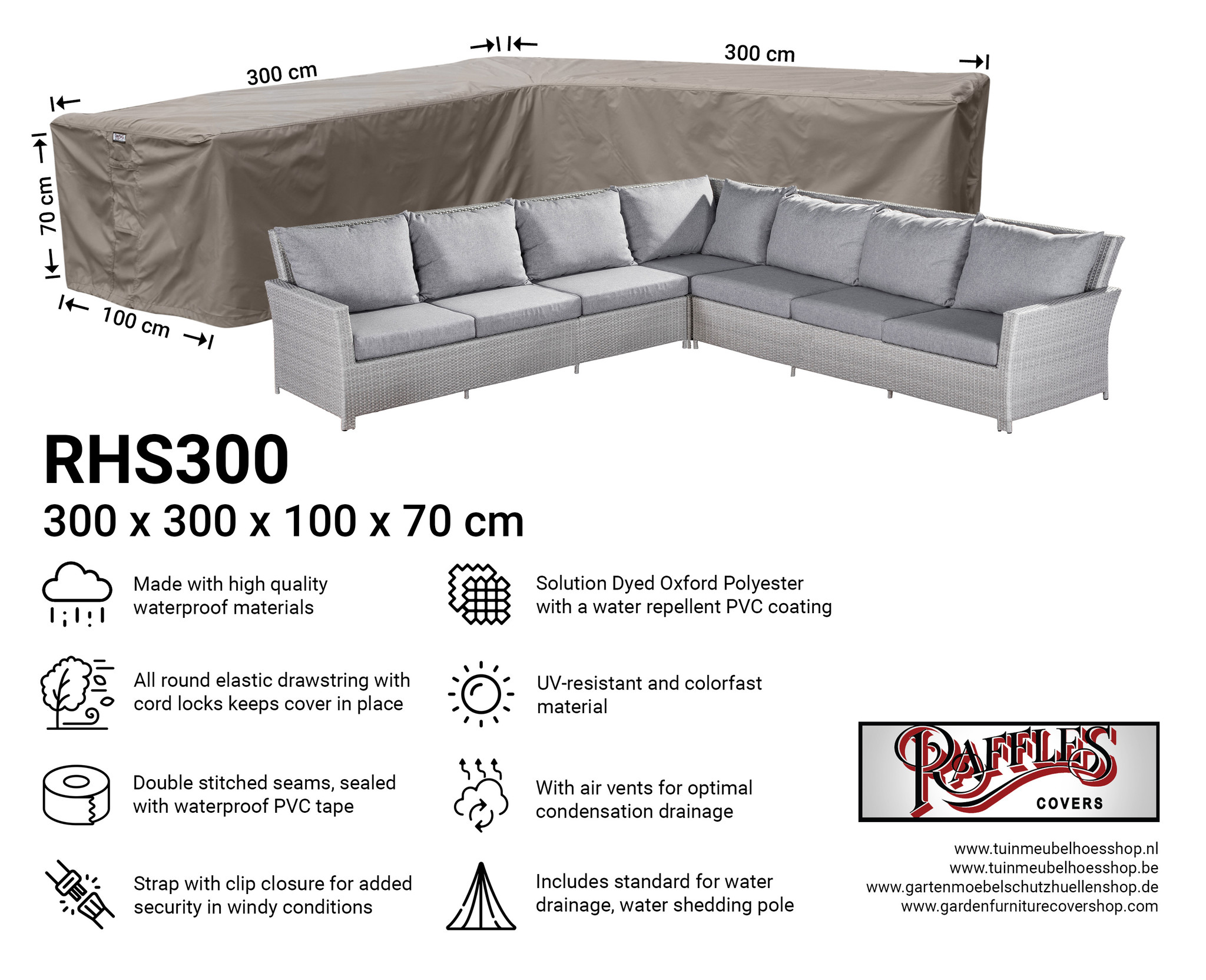 Outdoor corner sofa cover 300 x 300 cm