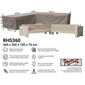 Raffles Covers Large cover for corner sofa, 360 x 360 x 100, H: 70 cm