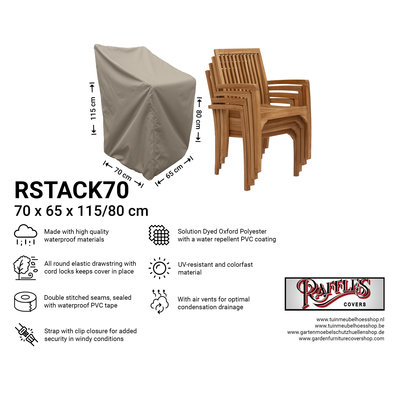 Raffles Covers Cover for stacking chairs 70 x 65 H: 80/115 cm