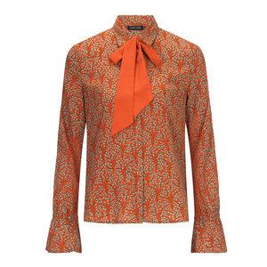 YDENCE Joyce print blouse met strik orange print