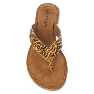 Lazamani Ladies toe slippers floral 75.481 tan 152