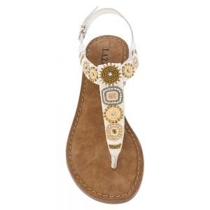 Lazamani Ladies toe slipper beads 75.631 white tan 515