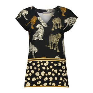 Geisha Geisha top leopard sleeveless 03249-20 black/sand
