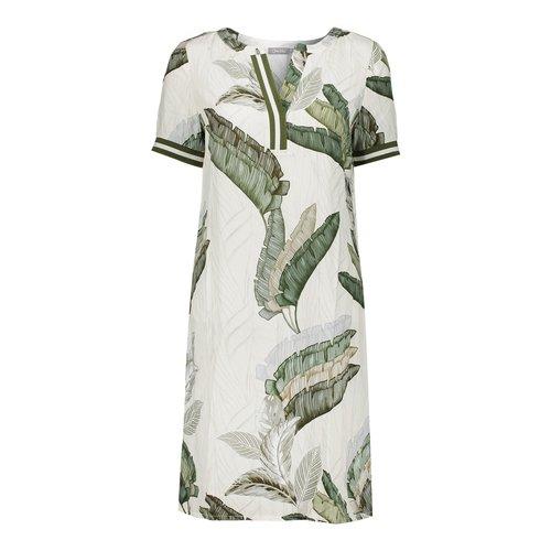 Geisha Geisha dress leaves with tape 07073-20 off-white/green