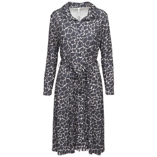 Zoso Zoso Shirley jurk zebra printed charcoal / sand