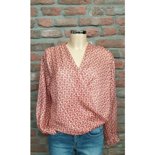 charme mode Blouse met schuine overslag print one size