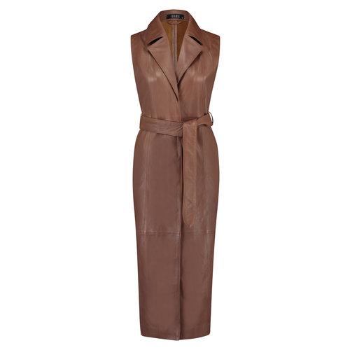 Ibana Ibana leren jurk Jadey 302010006 brown