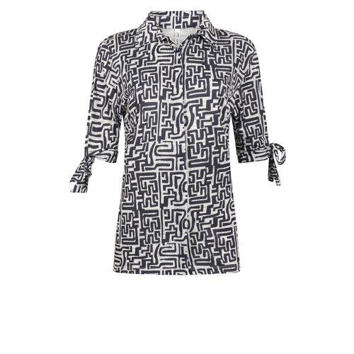 Zoso Zoso Mercury printed travel blouse with bow 0008 navy
