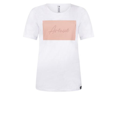 Zoso Zoso Avenue T-shirt with chestprint 0016/0012 whiterose