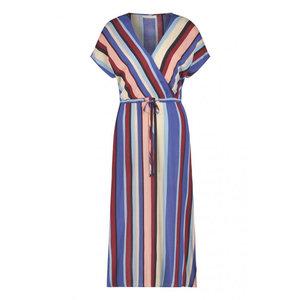 Freebird Freebird Tara midi dress short sleeve multi stripe vis