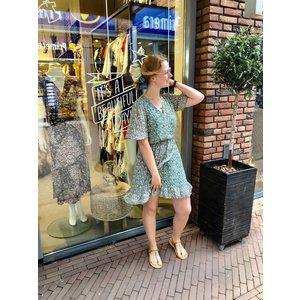 Papillonne jurk kort blauw/groen bloemen