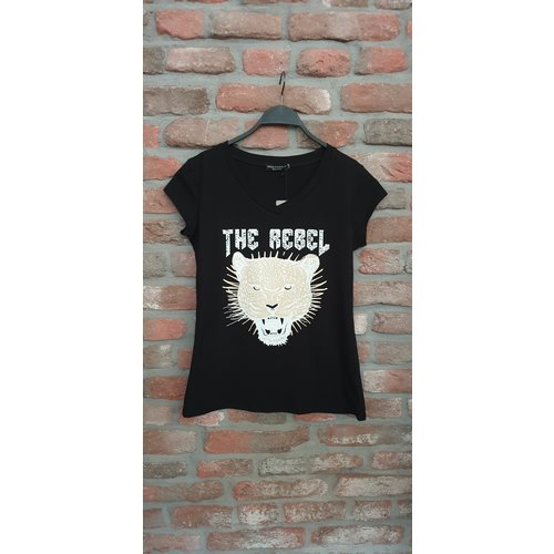T-shirt v-hals The Rebel black