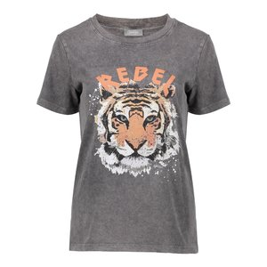 Geisha Geisha T-shirt rebel with tiger 02519-24 grey