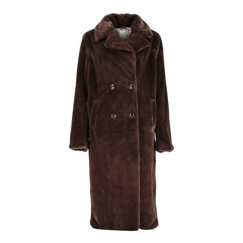 Geisha Geisha coat long fake fur 08556-27 dark brown