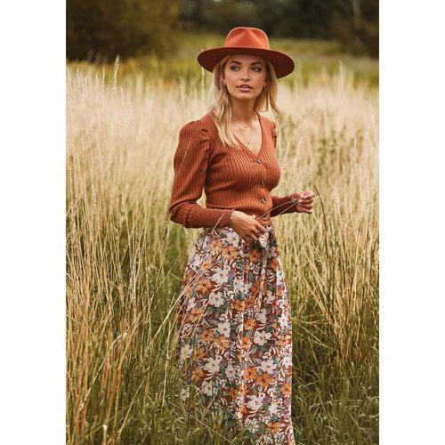 Ydence Ydence Ameli Maxi skirt met knopen in bloemenprint floral print