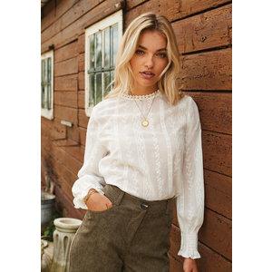 Ydence Ydence Autumn blouse met kanten volants white