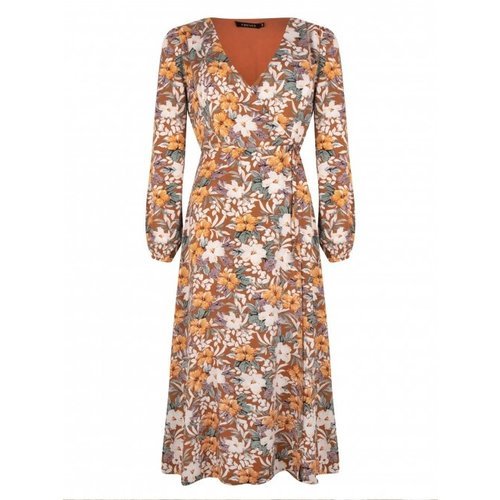 Ydence Ydence Sabine overslag maxi dress in bloemenprint flora print