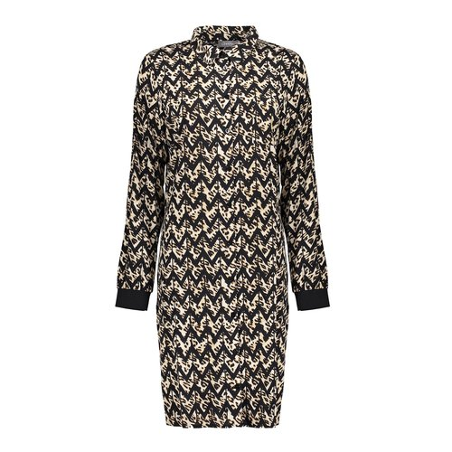 Geisha Geisha dress AOP zigzag 07619-20 black/sand comb.